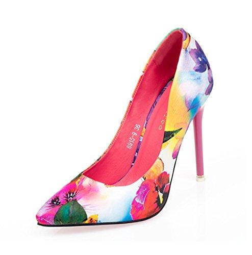 slim high heel Floral spitz Single Schuhe High Heels Damenschuhe ( Farbe : Pink , größe : 38 )