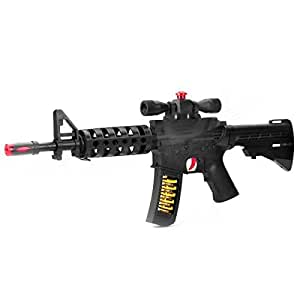 Machine Gun Toy Musical Flashing LED Lights with Laser (Black)