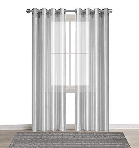 DEZENE 2er Set Faux Seide Halb-transparent Gardine mit Ösen Einfarbige Voile Tüll Durchsichtig Vorhänge Schals,Grau,140 x 260 CM
