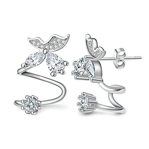 Epinki Damen 1 Paar Silber Zirkonia Ohrclip Ohrklemme Ohrringe 925 Silber Fake Piercing Ear Cuff Ohr Klammern Fake Piercing Fake Loch Piercing