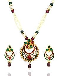 Aashya Mayro Padmavat Inspired Rajwadi Gold Plating With Green And Maroon Stone And Meenakari, Pearl Necklace...