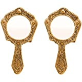 Hand Mirror Pair Hexagonal Shaped in Metal Golden Finish by Handicrafts Paradise
