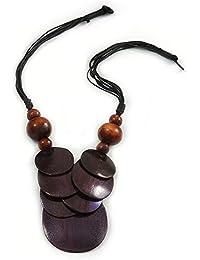 Avalaya - Colgante de Cuentas de Madera Morada y marrón con Cordones de algodón Negro – 46 cm L