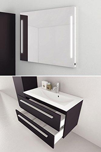 Badmöbel-Set Libato - 90 cm Breit - Anthrazit Hochglanz - Badezimmermöbel Waschtisch mit Unterschrank Spiegel mit Beleuchtung Sieper Jokey