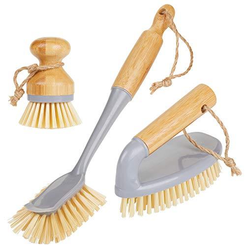 mDesign 3er-Set Spülbürste aus Bambus - runde und Lange Küchenbürste zur Reinigung von Töpfen und Pfannen - robuste Bürste für Böden und Wände - grau/naturfarben (Reinigung Topf)
