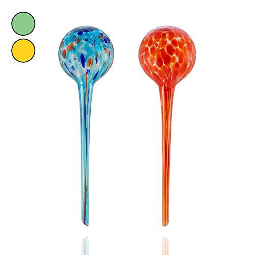 Amazy Bewässerungskugeln aus Glas (2er Set | Rot & Blau) - Handgefertigte Durstkugeln zur Bewässerung Ihrer Pflanzen im Urlaub (bis zu 14 Tage)