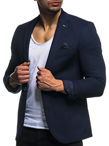 18620fcfd24d4c LEIF NELSON Herren Sakko Blazer Sportlich Slim Fit Modern Schwarz Blau  Anthraztit   Größe XL