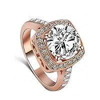 خاتم خطوبة من الكريستال النمساوي مطلي بالذهب الوردي عيار 18 قيراط مرصع بالزركون الأصلي والكريستال الشفاف - R120