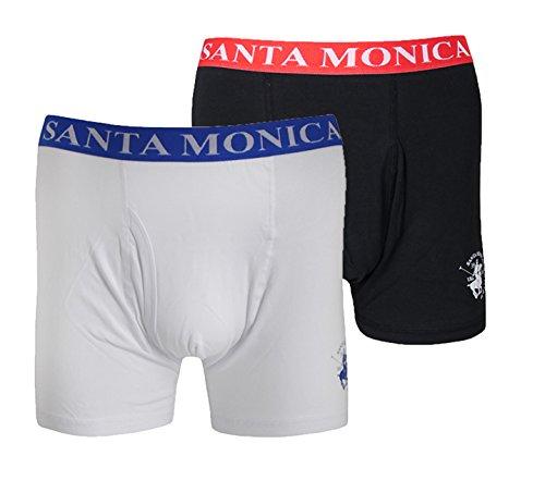 Santa Monica Herren 2Pack Classic Boxer Shorts Trunk mit Schlüssel Loch Gr. M, Weiß - Schwarz / Weiß (Boxer Briefs-club)