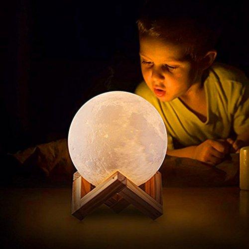 Luz de la noche que carga la impresión 3D La luna Lámpara, USB Carga LED Luz de la Noche para, caliente y fresca Blanco Control Dimmable del tacto Brillo, lámpara interior del humor lunar Iluminación
