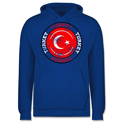 EM 2016 - Frankreich - Turkey Kreis & Fußball Vintage - Männer Premium Kapuzenpullover / Hoodie Royalblau