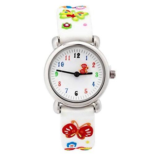 Happy Cherry - Reloj de Pulsera Cuarzo Analígico Colorido para Niños y Estudiantes Correa de Silicona con Dibujo Animal 3D Watch Reloj Infantil - blanco - Mariposa