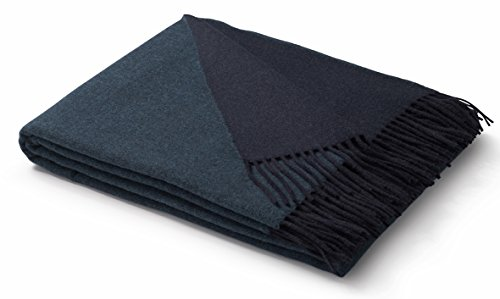 biederlack weiche Kuschel-Decke Wool-Mix in dunkelblau-türkis I aus Wolle und Kaschmir I Öko-Tex...