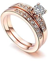 Redfly - Juego de anillos de compromiso, de boda, bañados en oro rosa de 18 ct, con cristales checos