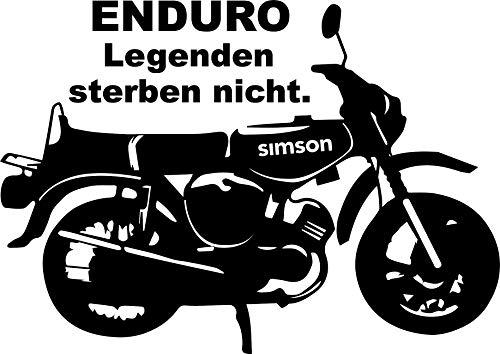 Wandtattoo: SIMSON S51E ENDURO \'Legenden sterben nicht.\' - Motorrad - Kult - DDR // Farb- und Größenwahl (Schwarz - 450 mm x 320 mm)