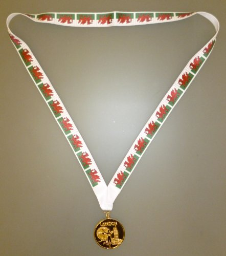 Wales Gewinner Medaille - Goldene Metall Medaille Mit Waliser Kennzeichnet Kordel - EURO 2016 (MI3) (Gewinner Flagge)
