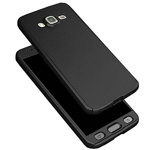 NVM 360 Degree Full Body Protection Front & Back Case Cover (iPaky Style) with Tempered Glass for Samsung Galaxy J7 2015 - Black