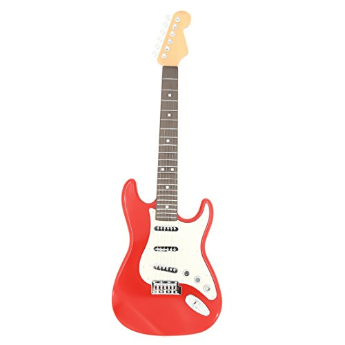 YAKOK 6 Cuerdas Guitarra Electrica Niños Guitarra Juguete para Niños y Niñas 3-12 años (Rojo Blanca)