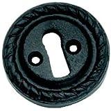 Schlüsselloch, georgianischer Stil, offen, Rosette, aus Gusseisen, Urnen-Stil, Schwarz (GX09)