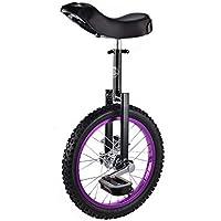 ZSH-dlc Monociclo 16/18 Pulgadas Solo Redondo para niños, Adultos, Altura Ajustable, Equilibrio, Ejercicio de Ciclismo, púrpura (Tamaño : 16 Inch)