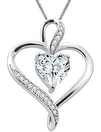 "Silvernshine Women's 1.25 Ct Heart Cut D/VVS1 Diamond Pendant Necklace, 18"" .925 Silver Chain"