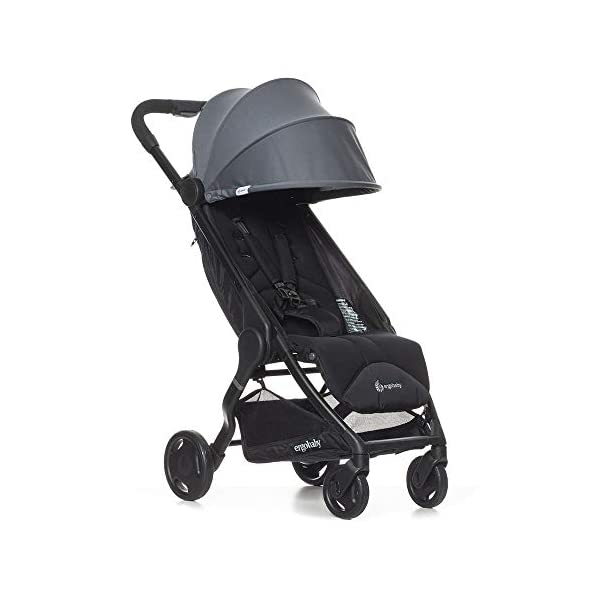 ErgobabyMetro Lightweight Buggy Stroller Pushchair with Sun-Shade Canopy One Hand Foldable, 6Months to 18kg Toddler (Grey) Ergobaby A stroller that knows no limits. The ErgobabyMetro Strollers are ultra compact and fits effortlessly into small car boots and most aeroplane luggage compartments. An ideal baby and infant travel system. Baby comfort without compromise - soft, comfortable Stroller packed with plush, cushy padding that supports baby's head, back, bottom and legs . Advanced multi-zone support, and an adjustable footrest give your baby a comfortable seat. The gentle suspension and the shock absorbing PU tyres effortlessly tackle challenges such as kerbs, cobblestones and paving stones. Padded handle and strap. Storage tray for bags and shopping. 1