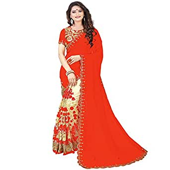 Siddeshwary Fab Women's Georgette Saree With Blouse Piece (1454_Orange)