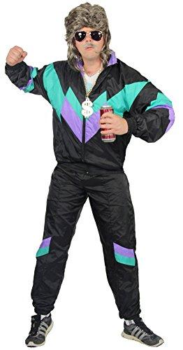 80er Jahre Trainingsanzug für Erwachsene | schwarz lila grün | Größe S - XXXL
