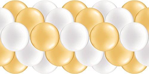 Luftballongirlande weiß, gold