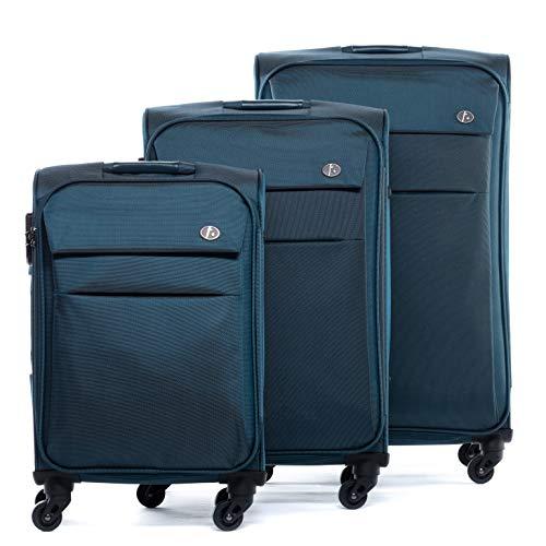 FERGÉ Kofferset Weichschale 3-teilig Calais Trolley-Stoffkoffer neu | 3er Weichschalenkoffer Set 4 Komfortrollen (360°) Weichschale blau