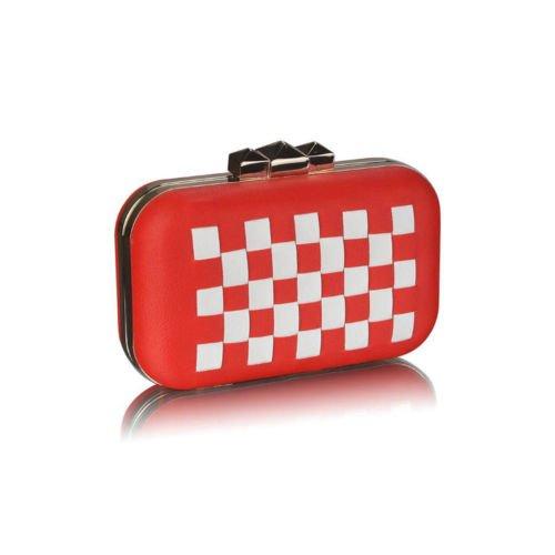 TrendStar Koffer Box Handtasche Damen Designer Abend Partei Handtasche Rot/Weiß