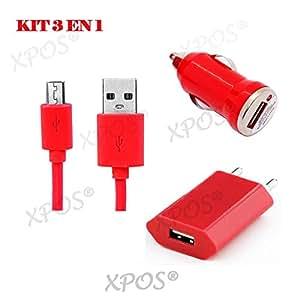 3in 1Kabel datal Micro USB + Ladegerät 1000mA + Carplug 1000mA für Motorola V3690in rot XPOS®
