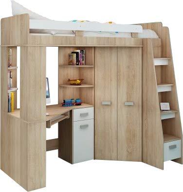 Hochbett/Etagenbett/Entresole - alle in einer rechts Ablesen Treppen - Kinder Möbel Set. Bett, Kleiderschrank, Regal, Schreibtisch Sonoma Oak - White