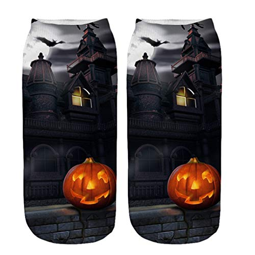 Skxinn Unisex Winter Sportsocken,Halloween Pumpkin Bedruckte Kurze Socken/Lässige Niedliche Söckchen für Frauen,Weihnachtsdruck 3D Socken(Z01-T)