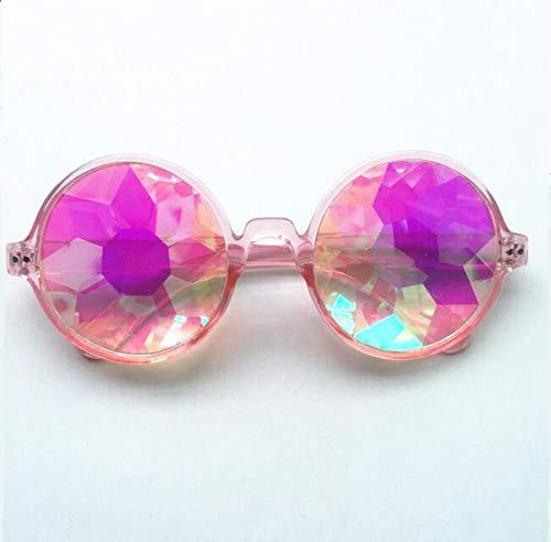 Modische Sonnenbrille für Damen, 100% UVA/UVB-Schutz Verspiegelte Linse FDA-Standardbrille Kaleidoskopglas facettierte Nachtshow mit Cooler Sonnenbrille,Pink