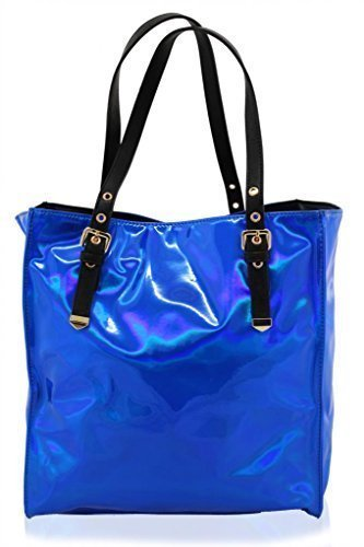 KUKUBIIRD HOLOGRAPHIC LARGE TOTE SHOPPER BAG BLUE