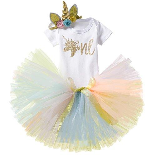 NNJXD Unicornio Arco Iris Tutú Primer Cumpleaños Trajes de 3 Piezas Mameluco + Falda + Diadema de Oro Tamaño (1) 1 año Amarillo
