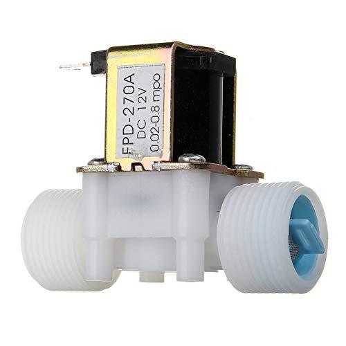 HINMAY Magnetventil, G3/4, G1/2 DC 12 V Magnetventil, Wasser-Umschalter, Gerät normal geschlossen, Typ PP, elektrisches Magnetventil, Wassersteuerung, Umschaltgerät, G3/4, Free Size -