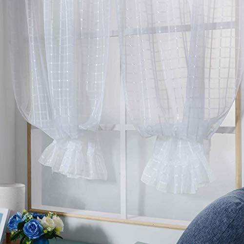 Eastery Gardinen Fenster Vorhänge Mit Spitze Gitter Fassade Fenster Fenster Behandlung Einfacher Stil Paneele Tür Drapieren (Blau) (Color : Weiß, Size : Size) (Gitter-sling-rucksack)