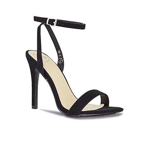 ESSEX GLAM Donna Peep Toe Stiletto Cinturino alla Caviglia Sintetico Sandalo Nero Finto Scamosciato