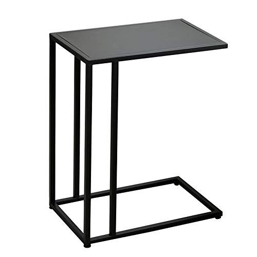 Chunlan C-förmiges Metall (Eisen) Beistelltisch, Wohnzimmer Schlafzimmer Schlafsofa Tisch, 3 Farben, L48 * W28 * H58cm (Farbe : SCHWARZ)