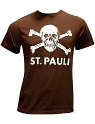 FC St. Pauli - Totenkopf T-Shirt, braun, Grösse 3XL