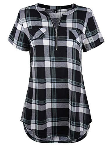 Odosalii Damen V-Ausschnitt Kariert Bluse 3/4 Ärmel Langarm Reißverschluss Tunika Longshirt Hemd Tops T-Shirt, 3XL, B_schwarz Kariert_kurzarm