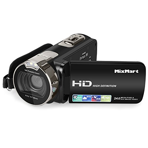Videokamera Camcorder, MixMart Digitalkamera 1080P Full HD 24 Megapixel 16X Digitalzoom 2.7