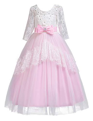 Zhhlaixing Lace Ärmeln Prinzessin Kostüm Openwork Girl Kostüm für Halloween Weihnachtsfeier Alter 3-14 Jahre Brautjungfern