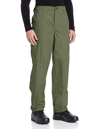 TRU-SPEC Men's Polyester Cotton Rip Stop BDU Pant, Olive Drab, Medium Short