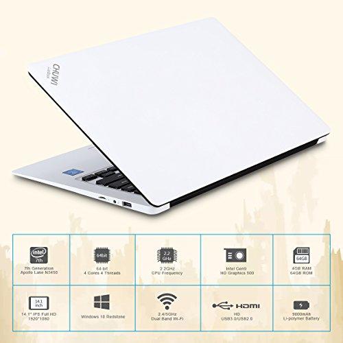 CHUWI - 14.1 Zoll Windows10 Laptop (64Bits, 4GB RAM, 64GB ROM, IntelApolloLakeCeleronN3450, 2.2GHz, QuadCore, BT4.0 External 3G, 1920*1080FullHD IPS, Intel HD Graphics, Wlan) Weiß - 4