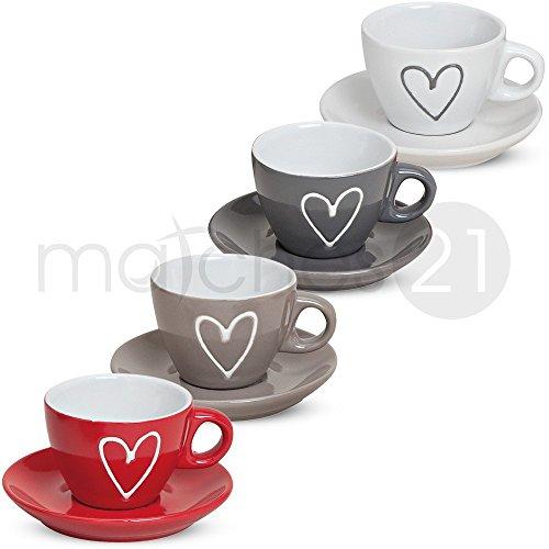 matches21 Espressotassen Tassen Becher 8-tlg. Set Herzdekor weiß grau braun rot inkl. Unterteller...