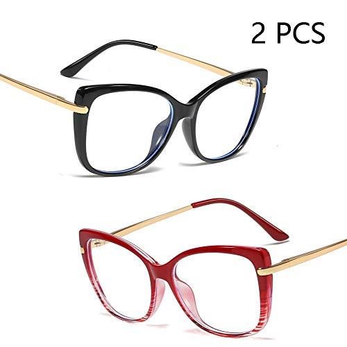 Anti-Blu-Ray-Brille Für Männer Und Frauen, Wild Cat Eye Flache Brille, Leichte Mode Tr90 Brillengestell Spring Legs, Computer Mobile Goggles (2PCS),C1+C3