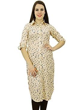 Phagun Resumen del desgaste Kurta Diseñador 3/4 étnico algodón de las mujeres vestido Kurti